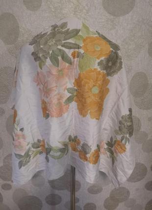 Шелковый большой платок с цветочным принтом из тайского шелка