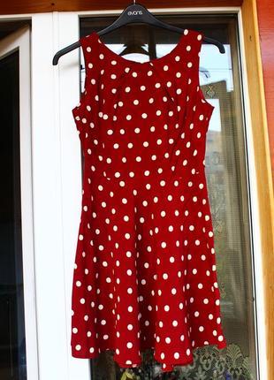Красное, платье,плаття,сукня,в горох,горошек, червоне