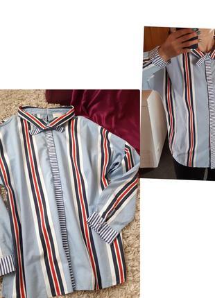 Стильная блуза/рубашка полосатая, milano/италия,  р. 42