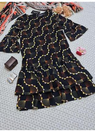 Платье с воланами next/с принтом/ расклешенный рукав