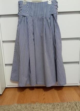 Трендовая юбка пышная в полоску миди primark р 10