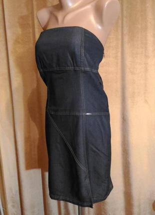 Джинсовое, стрейчевое платье сарафан, лёгкое, тонкое, р.l