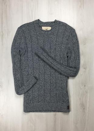 F7 свитер hollister кофта свитшот холистер мужской синий серый теплый