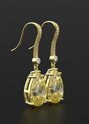 Шикарные желтые цитрины серебряные серьги камни весом в  4 карат