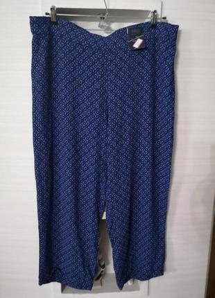 Модные укороченные брюки на резинке с принтом большого размера