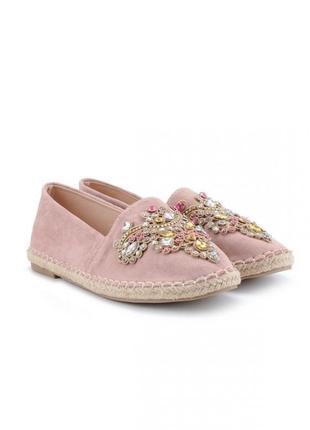 Розовые эспадрильи со стразами камнями замшевые балетки лоферы на плетёной подошве