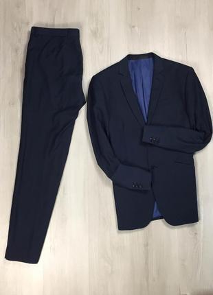 F9 n9 костюм limited приталенный зауженный синий пиджак брюки