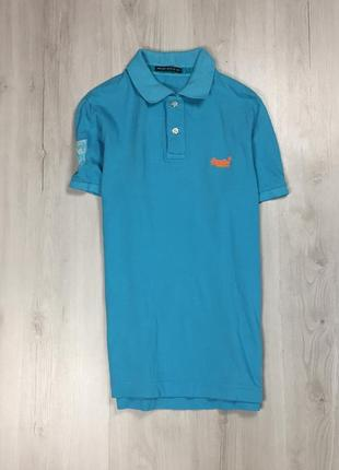 Z8 тенниска superdry супердрю голубая поло футболка с воротником