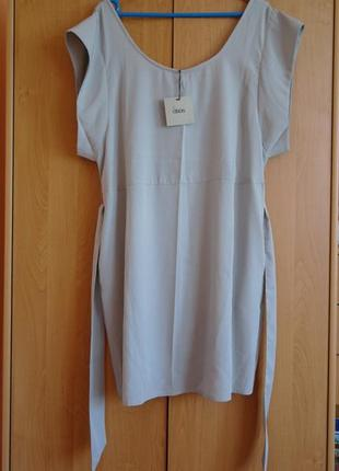 Легкое пастельное свободное платье с поясом и карманами