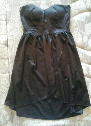 Коктейльное, чёрное, нарядное, короткое платье. платье бюстье , атласное