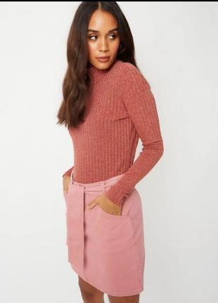 Нова джинсова розова юбка george у дрібненький рубчик