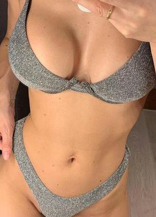 Сексуальный серебристый купальник