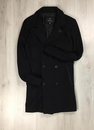 F9 шерстяное черное пальто guess чёрное
