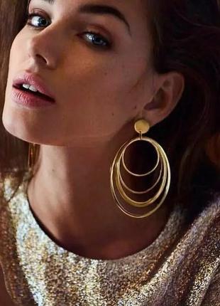 Серьги гвоздики кольца большие золотистые