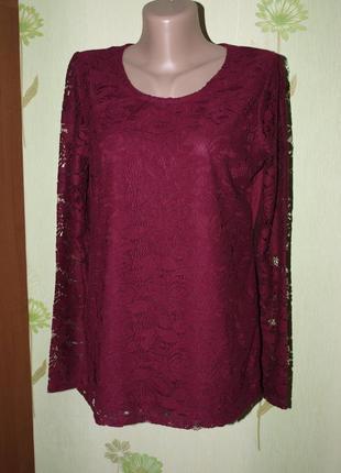 Кружевная кофточка, реглан,трикотажная блуза-m-l от laura torelli.-идеал