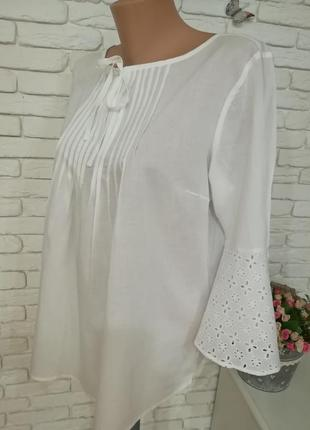 Тонкая белая блуза с котоновым кружевом,р.l-xl,пог 56