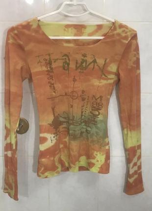 Джемпер женский яркий оранжевый кофта с длинным рукавом вырезом на шее