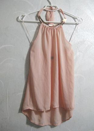 Майка orcelly италия на завязках с золотым колье розовая