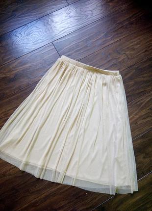Стильная юбка пачка с золотым напылением zara