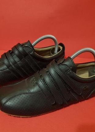 Lacoste mystere punched 38р. 24см женские кожаные кроссовки туфли на липучках