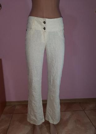 Легкие льняные брюки жатка