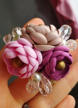 Резинка на волосся, резинка з квітами,резинка