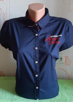 Крутая оригинальная рубашка темно- синего цвета gaastra с короткими рукавами