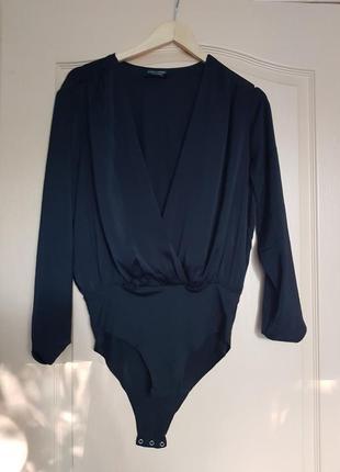 Шелковое брендовое топовое базовое боди блузка на запах глубокое декольте zara
