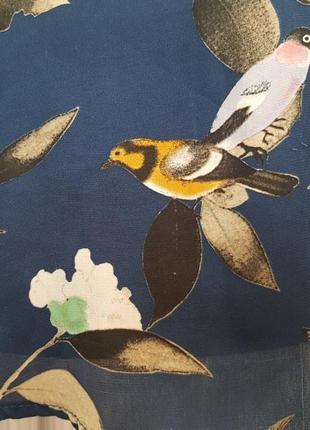 Брендовая шелковая блуза zara принт птицы листья