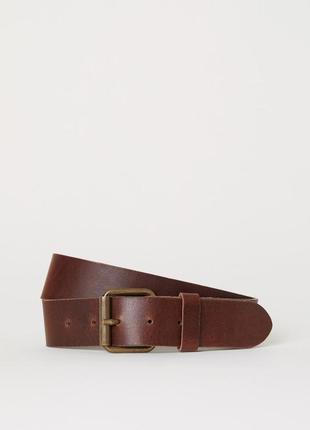 Мужской коричневый кожаный ремень h&m. размер 110 см