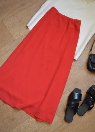 Юбка миди легкая летняя красная на высокой посадке шифоновая в бельевом пижамном стиле