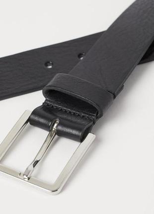 Черный мужской кожаный ремень h&m. размер 100 см