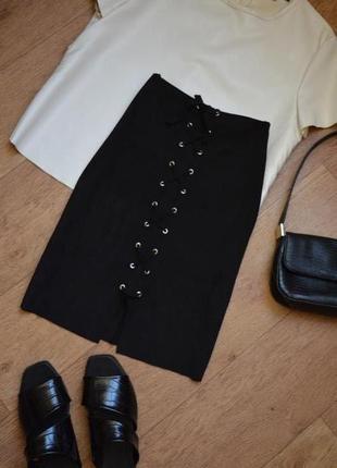 Moves minimum юбка замшевая со шнуровкой на высокой посадке с завышенной талией черная