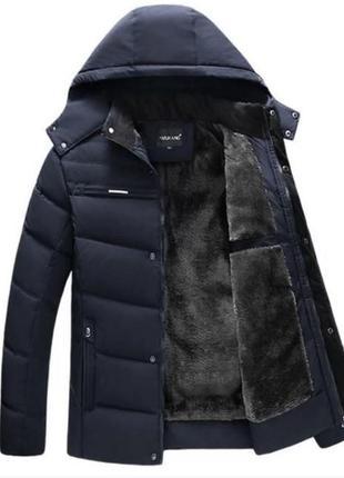 Мужская зимняя куртка на меху kang, синяя2 фото