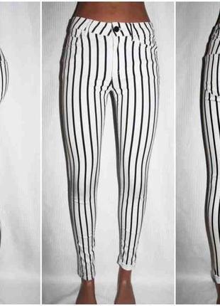 Летние тонкие джинсы белые полоска mango 36-38р