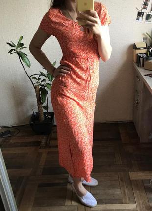 Платье миди, оранжевое платье с разрезом
