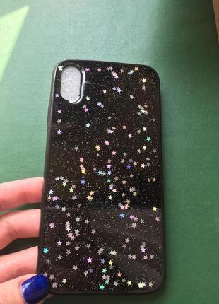 Новый чехол на айфон хр iphone xr чёрный с блёстками звёздочками