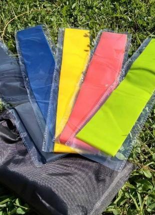 Комплект эспандеров 5 лент разных натяжений для фитнеса спорт товары набор резинок