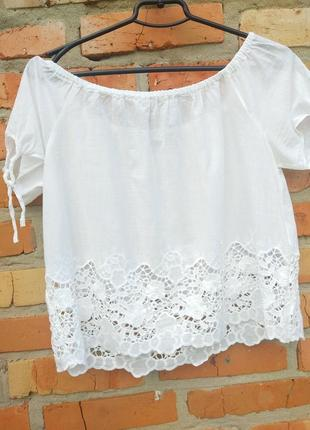 Шикарна блуза біла ажур,кружево,льон