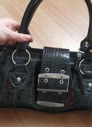 Чёрная женская сумочка, сумка под рептилию graceland