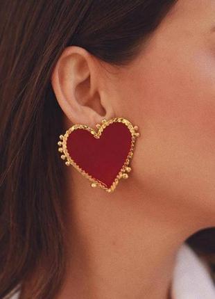 Серьги гвоздики красные сердца 3,6 см