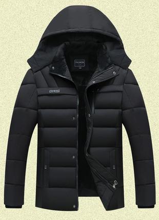 Мужская зимняя куртка на меху gyfs, чёрная