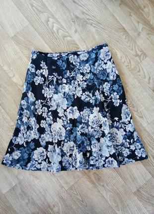 Вискозная юбка в цветы 12-14 рр.