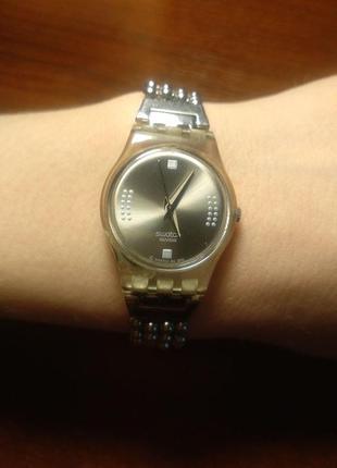Часы швейцарские женские swatch металлический браслет годинник жіночий