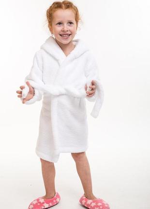 Детский махровый халат с ушками белый