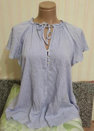 Новая шикарная вискозная блузка в полоску л