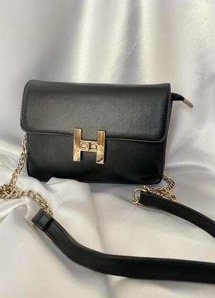 Женская сумка в стиле гермес на цепочке