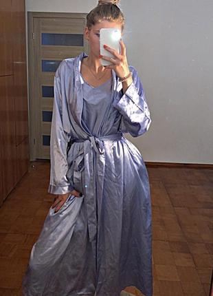 Комплект халат нічнушка жіночий фіолетовий