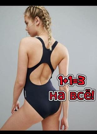 🎁1+1=3 шикарный черный базовый сплошной купальник speedo оригинал, размер 42 - 44