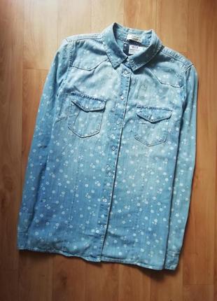 Актуальная котоновая рубашка в цветочек, сорочка, блузка, оверсайз, прямая